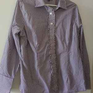 Land's End Sz 18 Purple/White Striped Button Down
